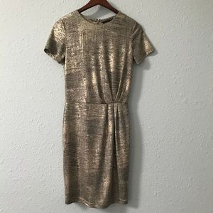 Dalia gold foil ruched fully lined dress size 2
